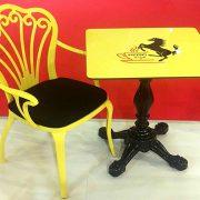 Alüminyum kollu sandalye sarı