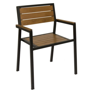 Metal ahşap dış mekan sandalyesi